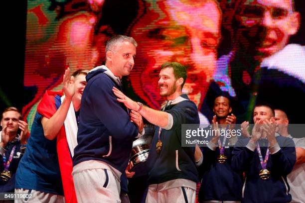 Goran Dragic and Kokoskov Igor celebrate fans after Slovenian basketball team historical win in European Championship in Istanbul on September 18...