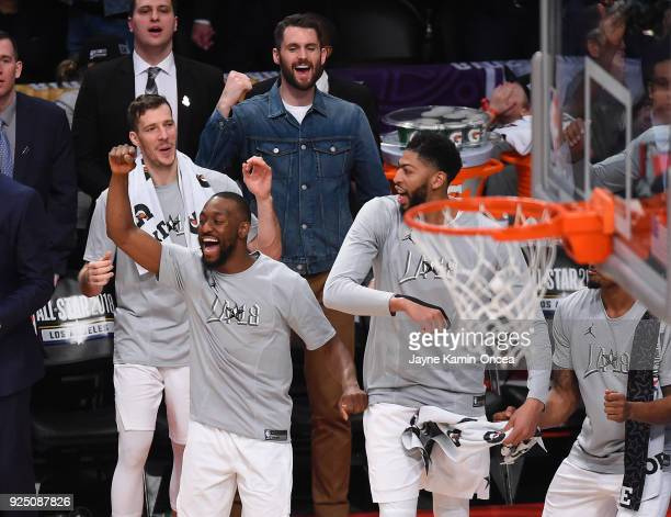 Goran Dragic Kyrie Irving Anthony Davis and Kevin Love of Team LeBron celebrate as the won the NBA AllStar Game 2018 at Staples Center on February 18...