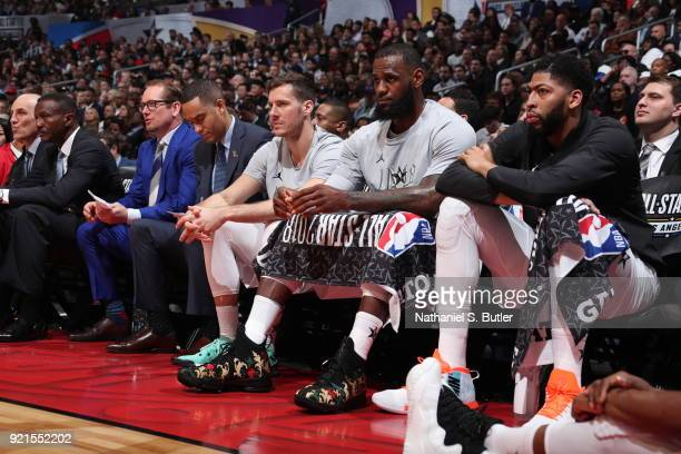 Goran Dragic LeBron James and Anthony Davis look on during the game against Team Stephen during the NBA AllStar Game as a part of 2018 NBA AllStar...