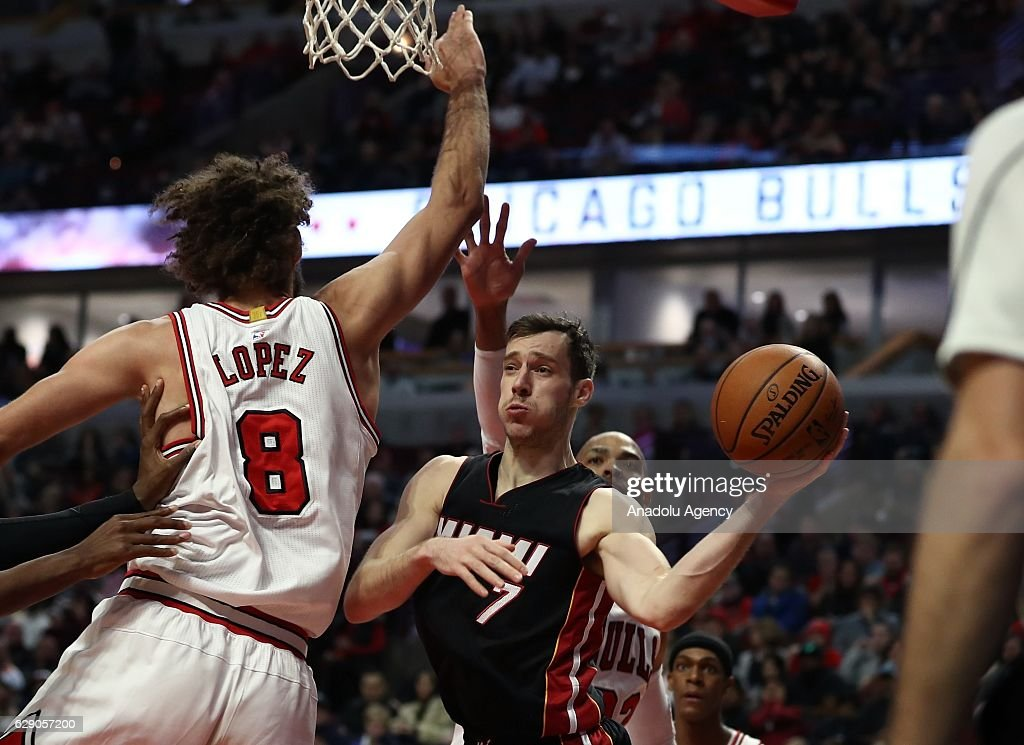 Goran Dragic (7) of Miami Heat in action during the NBA match between Miami Heat and Chicago Bulls on December 10, 2016 at the United Center in Chicago, Illinois.