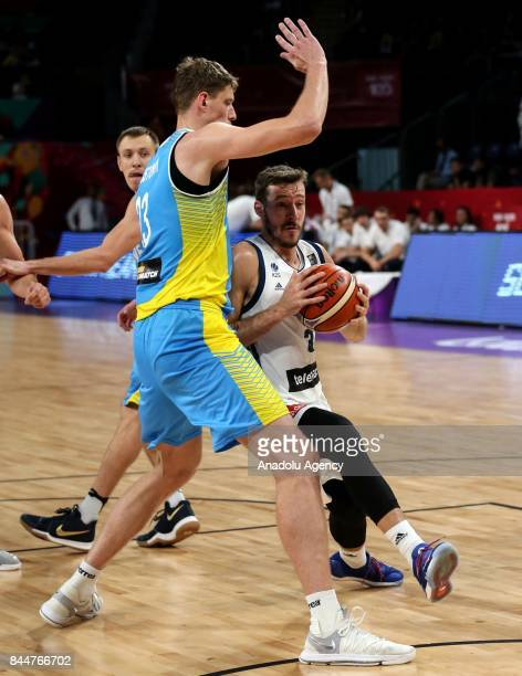 Goran Dragic of Slovenia in action against Artem Pustovyi of Ukraine during the FIBA Eurobasket 2017 Round 16 basketball match between Slovenia and...