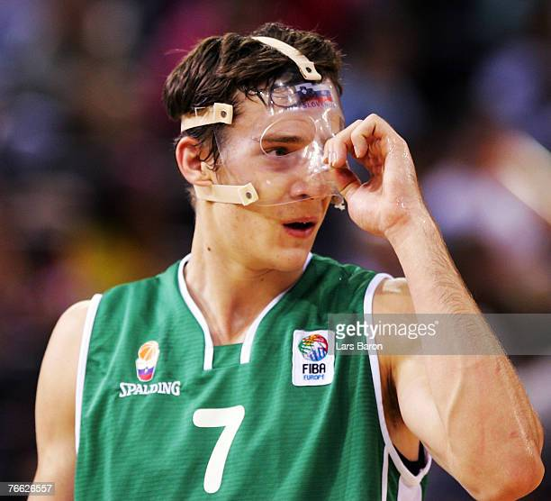Goran Dragic of Slovenia is seen with a face mask during the FIBA EuroBasket 2007 qualifying round Group F match between Turkey and Slovenia at the...