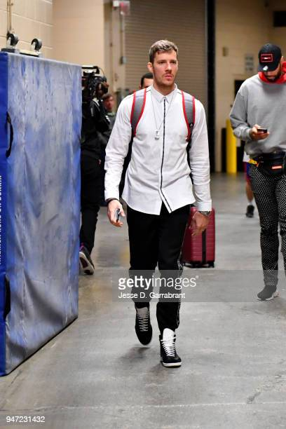Goran Dragic of the Miami Heat arrives to the arena prior to Game Two of Round One of the 2018 NBA Playoffs against the Philadelphia 76ers on April...