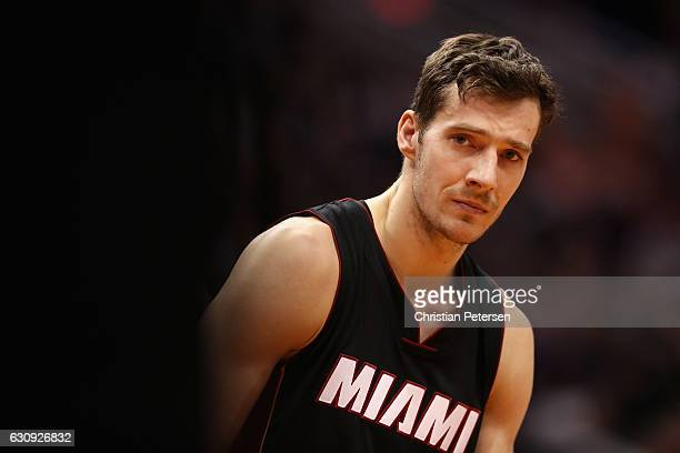 Goran Dragic of the Miami Heat awaits a free throw shot during the second half of the NBA game against the Phoenix Suns at Talking Stick Resort Arena...