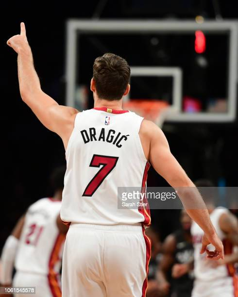 Goran Dragic of the Miami Heat calls a play in the fourth quarter during the game against Brooklyn Nets at Barclays Center on November 14 2018 in the...