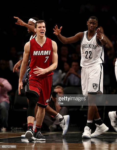 Goran Dragic of the Miami Heat celebrats his basket as Trevor Booker and Caris LeVert of the Brooklyn Nets react at the Barclays Center on January 25...