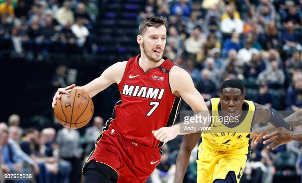 Goran Dragic of the Miami Heat dribbles the ball against the Indiana Pacers during the game at Bankers Life Fieldhouse on March 25 2018 in...