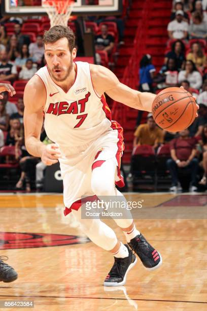 Goran Dragic of the Miami Heat dribbles the ball during the preseason game against the Atlanta Hawks on October 1 2017 at American Airlines Arena in...
