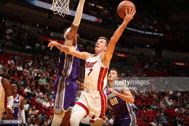 Goran Dragic of the Miami Heat drives to the basket against the Sacramento Kings on October 29 2018 at American Airlines Arena in Miami Florida NOTE...