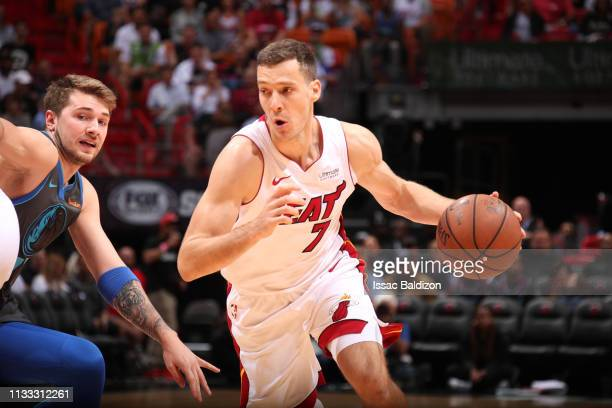 Goran Dragic of the Miami Heat drives to the basket against the Dallas Mavericks on March 28 2019 at American Airlines Arena in Miami Florida NOTE TO...