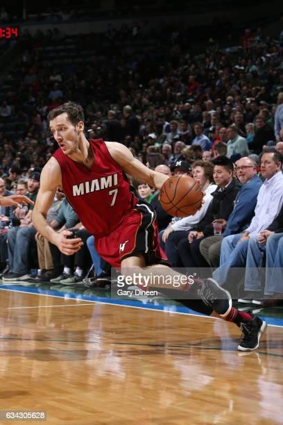 Goran Dragic of the Miami Heat drives to the basket against the Milwaukee Bucks on February 8 2017 at the BMO Harris Bradley Center in Milwaukee...