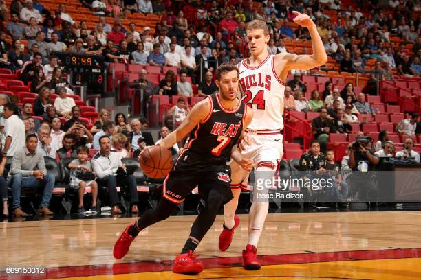 Goran Dragic of the Miami Heat drives to the basket against the Chicago Bulls on November 1 2017 at American Airlines Arena in Miami Florida NOTE TO...