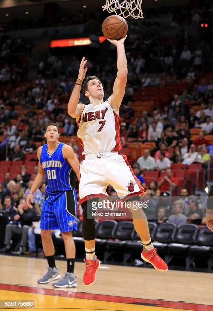 Goran Dragic of the Miami Heat drives to the basket during a game against the Orlando Magic at American Airlines Arena on February 13 2017 in Miami...