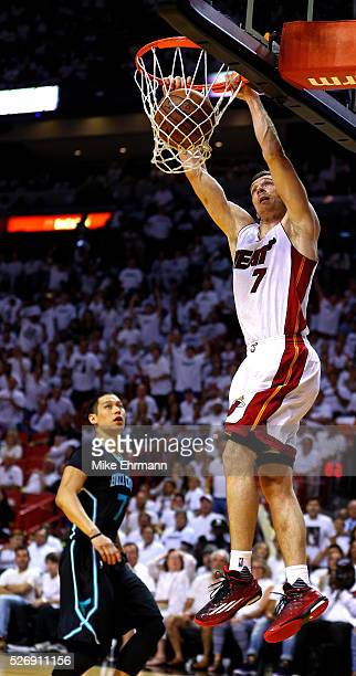Goran Dragic of the Miami Heat dunks during Game Seven of the Eastern Conference Quarterfinals of the 2016 NBA Playoffs at American Airlines Arena on...
