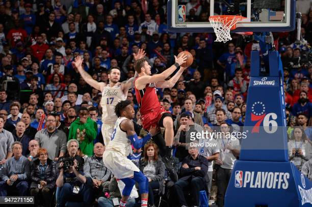 Goran Dragic of the Miami Heat goes to the basket against the Philadelphia 76ers in Game Two of Round One of the 2018 NBA Playoffs on April 16 2018...