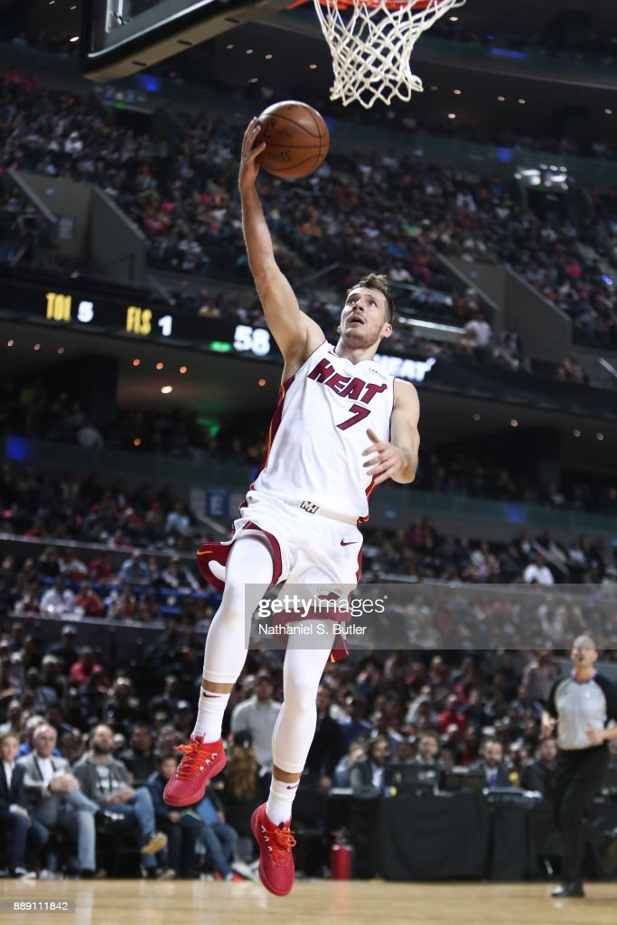 Goran Dragic #7 of the Miami Heat goes to the basket against the Brooklyn Nets as part of the NBA Mexico Games 2017 on December 9, 2017 at the Arena Ciudad de México in Mexico City, Mexico.
