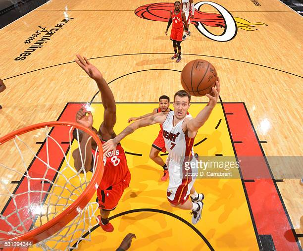 Goran Dragic of the Miami Heat goes up for the layup against the Toronto Raptors during the Eastern Conference playoffs Semifinals Game Six on May 13...