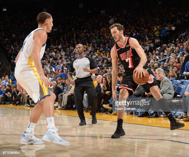 Goran Dragic of the Miami Heat handles the ball against the Golden State Warriors on November 6 2017 at ORACLE Arena in Oakland California NOTE TO...