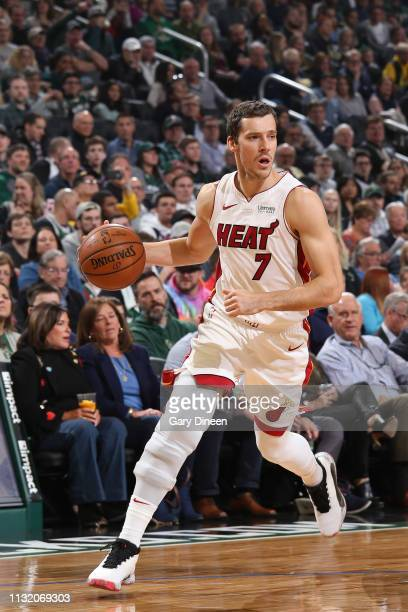 Goran Dragic of the Miami Heat handles the ball against the Milwaukee Bucks on March 22 2019 at the Fiserv Forum in Milwaukee Wisconsin NOTE TO USER...