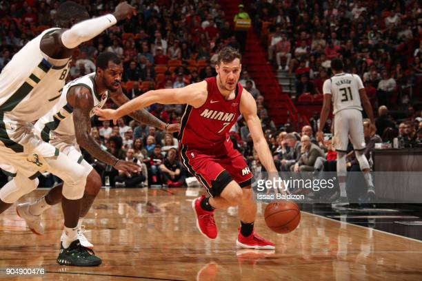 Goran Dragic of the Miami Heat handles the ball against the Milwaukee Bucks on January 14 2018 at American Airlines Arena in Miami Florida NOTE TO...