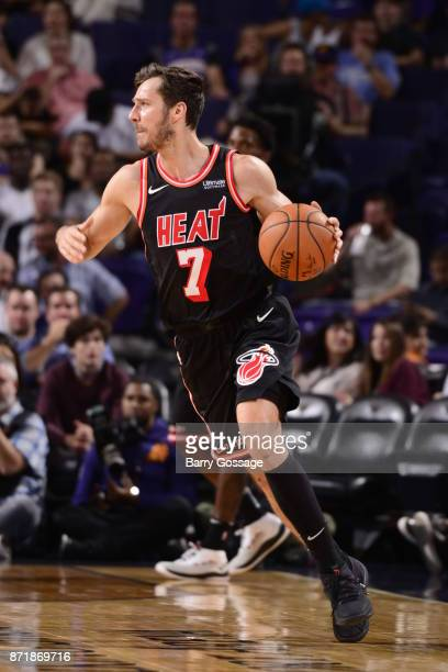 Goran Dragic of the Miami Heat handles the ball during the game against the Phoenix Suns on November 8 2017 at Talking Stick Resort Arena in Phoenix...