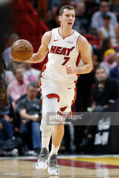 Goran Dragic of the Miami Heat in action against the Philadelphia 76ers during the second half at American Airlines Arena on April 09 2019 in Miami...