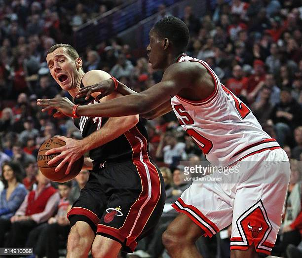 Goran Dragic of the Miami Heat is fouled by Tony Snell of the Chicago Bulls at the United Center on March 11 2016 in Chicago Illinois NOTE TO USER...