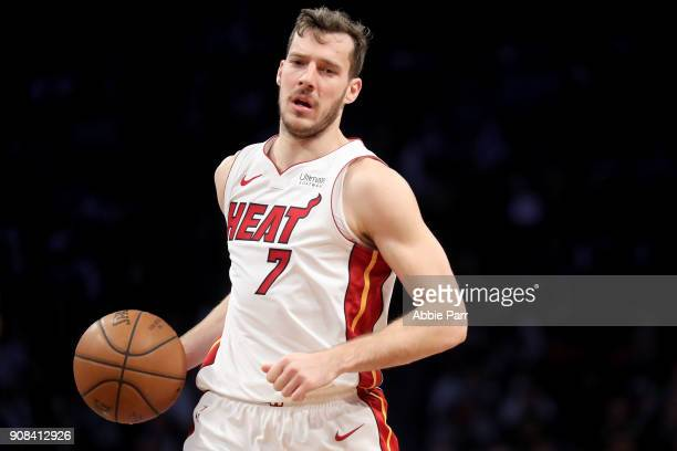Goran Dragic of the Miami Heat looks down the court against the Brooklyn Nets during their game at Barclays Center on January 19 2018 in the Brooklyn...
