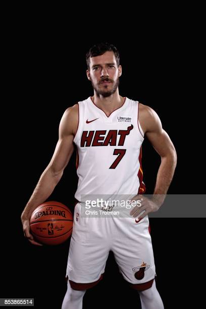 Goran Dragic of the Miami Heat poses during media day at American Airlines Arena on September 25 2017 in Miami Florida NOTE TO USER User expressly...