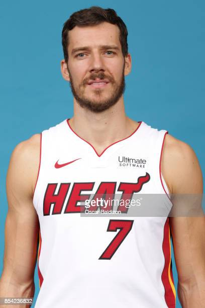 Goran Dragic of the Miami Heat poses for a head shot at American Airlines Arena in Miami Florida on September 25 2017 NOTE TO USER User expressly...