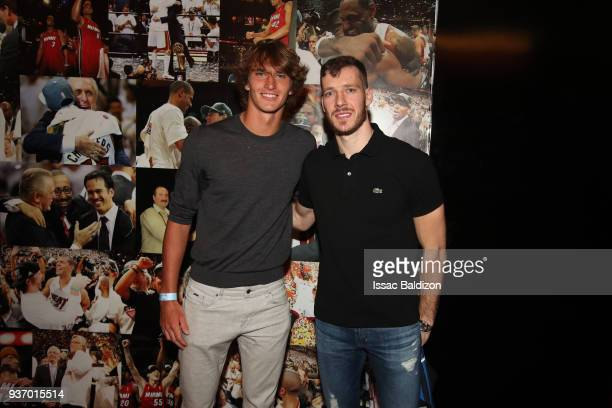 Goran Dragic of the Miami Heat poses for a photo with Tennis Player Alexander Zverev after the game against the New York Knicks on March 21 2018 at...