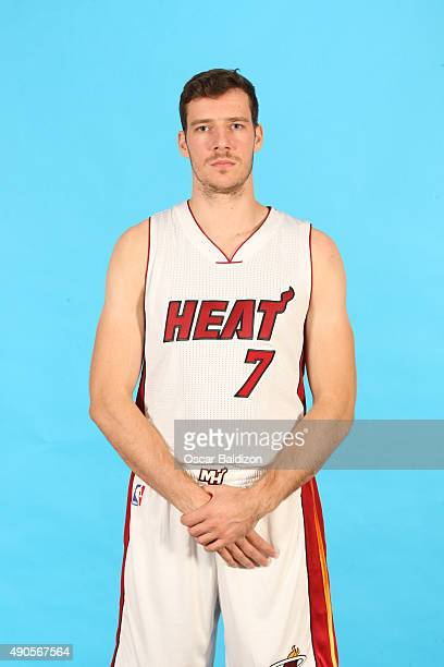 Goran Dragic of the Miami Heat poses for a portrait during the 2015 Media Day on September 28 2015 at the American Airlines Arena in Miami Florida...