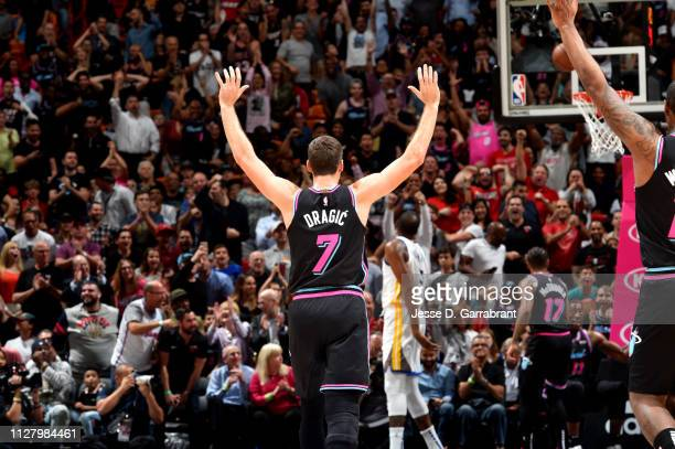 Goran Dragic of the Miami Heat reacts against the Golden State Warriors on February 27 2019 at American Airlines Arena in Miami Florida NOTE TO USER...