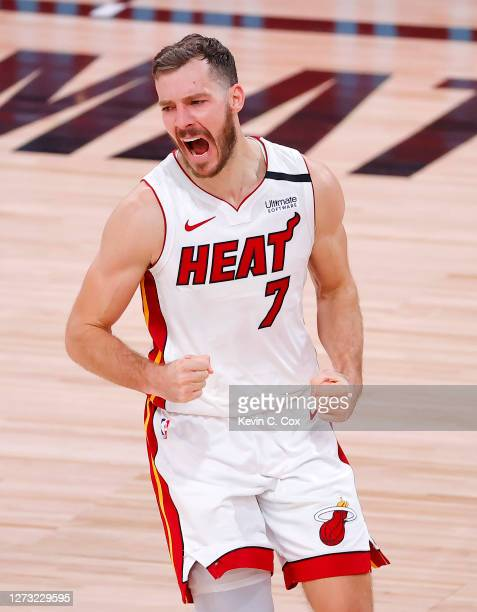Goran Dragic of the Miami Heat reacts during the fourth quarter against the Boston Celtics in Game Two of the Eastern Conference Finals during the...