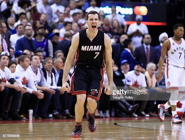 Goran Dragic of the Miami Heat reacts in the second half of Game One of the Eastern Conference Semifinals against the Toronto Raptors during the 2016...