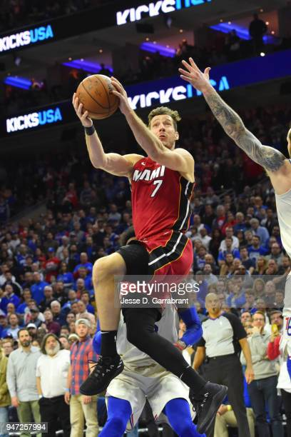 Goran Dragic of the Miami Heat shoots the ball against the Philadelphia 76ers in Game Two of Round One of the 2018 NBA Playoffs on April 16 2018 in...