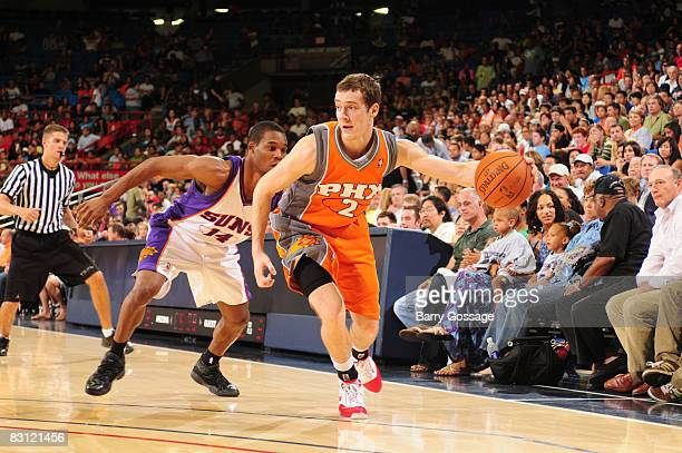 Goran Dragic of the Phoenix Suns dribbles during the Phoenix Suns IntraSquad Scrimmage at McCale Center on October 3 2008 in Tucson Arizona NOTE TO...