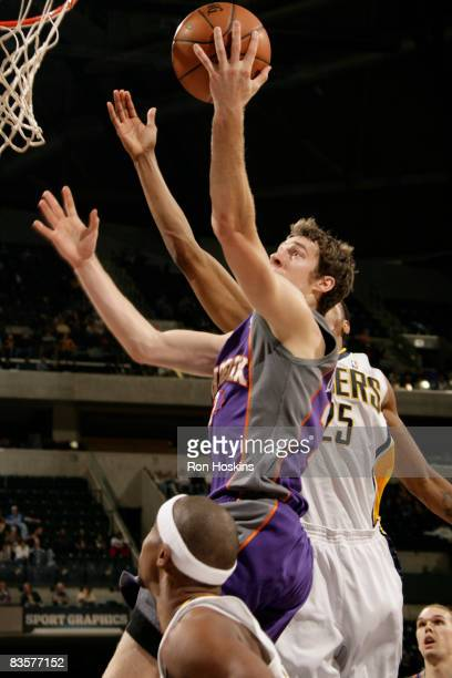Goran Dragic of the Phoenix Suns drives to the basket against the Indiana Pacers at Conseco Fieldhouse on November 5 2008 in Indianapolis Indiana...