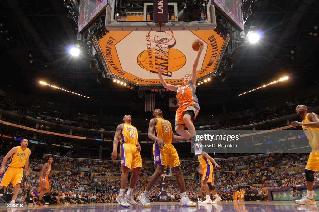 Goran Dragic #2 of the Phoenix Suns goes up for a layup against the Los Angeles Lakers in Game Two of the Western Conference Finals during the 2010 NBA Playoffs at Staples Center on May 19, 2010 in Los Angeles, California.