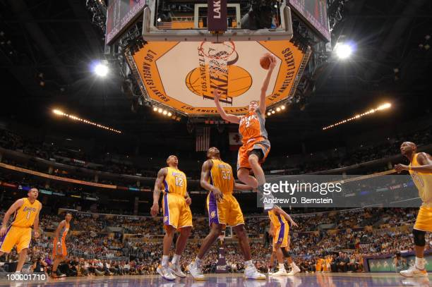Goran Dragic of the Phoenix Suns goes up for a layup against the Los Angeles Lakers in Game Two of the Western Conference Finals during the 2010 NBA...