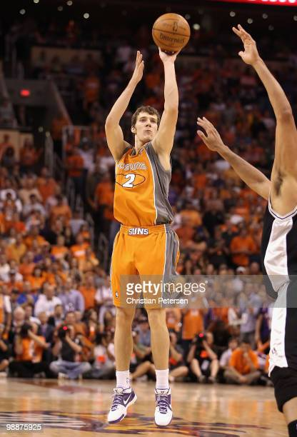 Goran Dragic of the Phoenix Suns puts up a shot against the San Antonio Spurs during Game Two of the Western Conference Semifinals of the 2010 NBA...