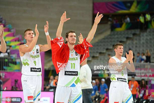 Goran Dragic of the Slovenia National Team waves to their fans after the game with the USA Basketball Men's National Team at the 2014 FIBA World Cup...