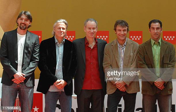 Goran Ivanisevic Bjorn Borg John McEnroe Mats Wilander and Albert Costa during the Madrid Masters Senior Presentation at Casa de Correos Madrid Spain...