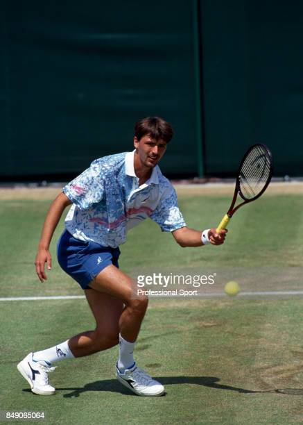 Goran Ivanisevic of Croatia during a men's singles match at the Stella Artois Tennis Championships at the Queen's Club in London circa June 1993...