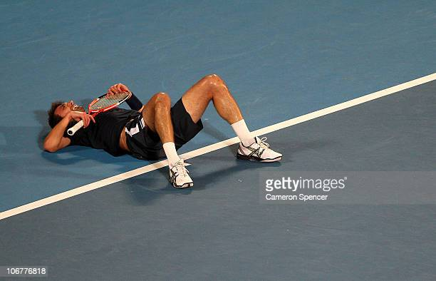 Goran Ivanisevic of Croatia lays on his back during his match against Henri Leconte of France during day two of the Champions Downunder at Sydney...