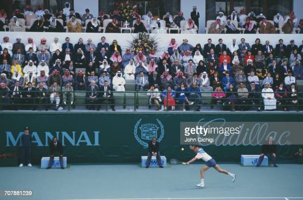 Goran Ivanisevic of Croatia returns against Boris Becker in the Men's Singles Final of the Mannai Cadillac Qatar Tennis Open on 11 January 1993 at...