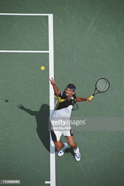 Goran Ivanisevic of Croatia serves to Cristiano Caratti during their Men's Singles second round match at the US Open Tennis Championship on 1...