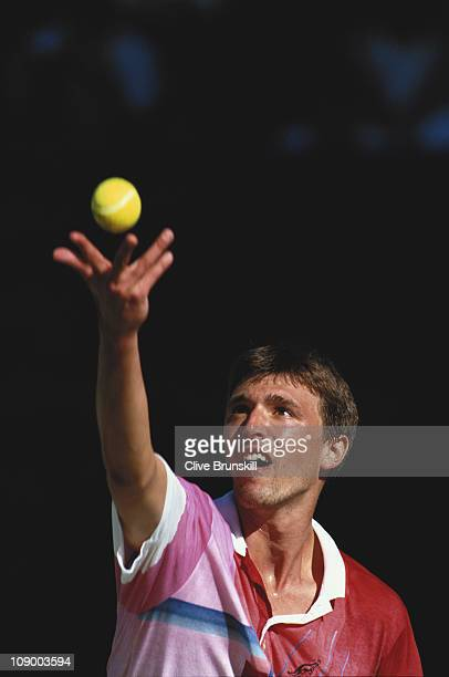 Goran Ivanisevic releases the ball from his hand as he prepares to serve against Aaron Krickstein during their third round Men's Singles match on...