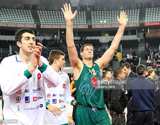 Goran Jagodnik Union Olimpija Ljubljana celebrates his team's win at the end of the 20102011 Turkish Airlines Euroleague Top 16 Date 1 game between...
