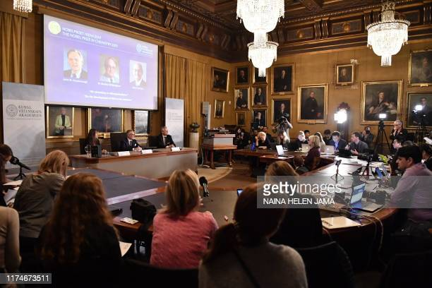 Goran K Hansson Secretary General of the Royal Swedish Academy of Sciences and academy members Sara Snogerup Linse and Olof Ramström announce whe...